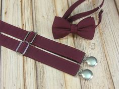 Burgundy Wine Bow Tie and Suspenders set close match to Davids Bridal Wine by CottonKandyShop