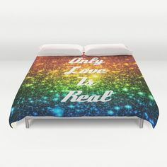 Galaxy Print Duvet Cover Rainbow Duvet Space by 2sweetsGalaxy  #galaxyprint #typography #rainbow