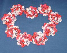 Flower appliques red varigated