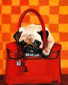 I want!!! :)  Fawn Pug Dog in Hermes Inspired Birkin Bag 11x14 Fine Art Print $39.95.