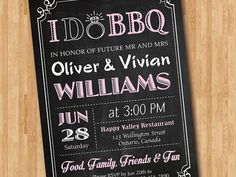 I do BBQ Invitation Chalkboard. Wedding. Engagement by arthomer
