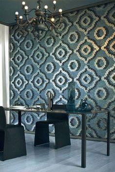 Mosaic patroon op 1 muur, kan ook ton sur ton als gezien bij Intercodam Bisazza #mosaic #tile - Venice