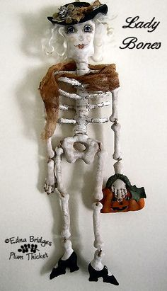Lady Bones Halloween Skeleton Doll PDF by PlumThicketPrims on Etsy, $7.00
