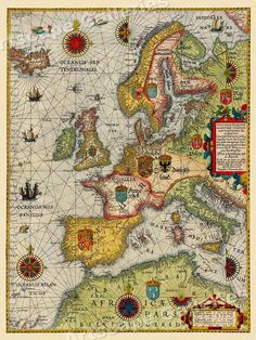 "Year: 1583. This richly embellished map also features the royal coat of arms of each land. ""Vibrant and bright! Pic does not do it justice.looks amazing!"". Each of our prints are custom reproductions printed on 68lb Heavyweight Enhanced Matte Art Paper. 