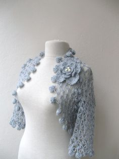 Knitting And Beading Wedding Bridal Accessories and Free pattern: Shrug bolero jacket with flower brooch-light grey mohair-weddings bridal bridesmaids bride fashion-spring summer Crochet Scarves, Crochet Shawl, Crochet Yarn, Crochet Clothes, Crochet Designs, Crochet Patterns, Crochet Wedding, Crochet Jacket, Crochet Dresses