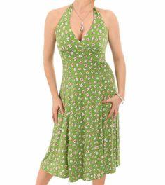Green Daisy Print Halter Neck Dress #womensfashion Justblue.com