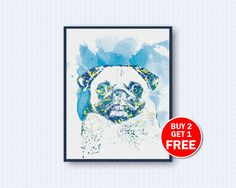 Mops Poster, Mops Watercolor, Dog Watercolor, Dog Poster, Watercolor Art, Animal, Wall Decor, Home Decor by TheWoodenKat on Etsy