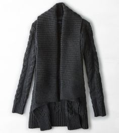 Charcoal AEO Shawl Collar Cable Knit Cardigan