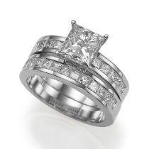Holyland-3.3 CT VS PRINCESS DIAMOND PROMISE RING 18K WHITE GOLD