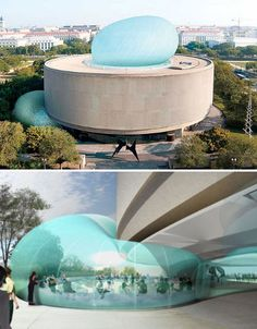 Washington D.C.'s Hirshhorn Musuem and Sculpture Garden, part of the Smithsonian Institute, will soon get a stunning inflatable pavilion that will wrap around one side of the round building and balloon up from its ceiling. Architects Diller Scofidio + Renfro