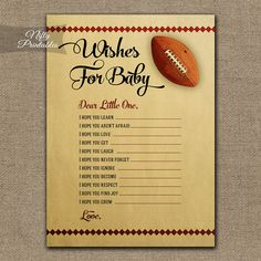 Wishes For Baby Game  Football Baby Shower  by NiftyPrintables