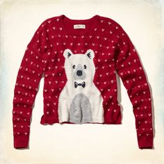 Cozy sweater with cute intarsia graphic, crew neckline, Easy Fit, Imported<br><br>57% Cotton / 28% Acrylic / 15% Polyester