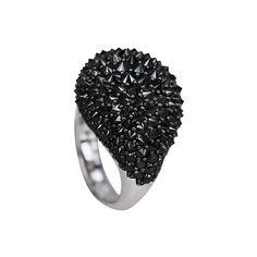 """Spiked Belle"" Black Diamond Ring"