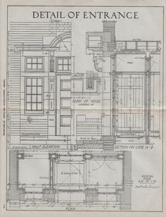 vintage Architectural drawing Detail of Entrance architectural blueprint classic house decor. $19.95, via Etsy.