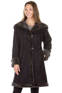 Krista Shearling Sheepskin Coat, BLACK FROST, Size 8 *** Read more reviews of the product by visiting the link on the image.