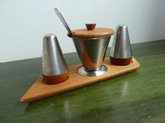 Denmark dansk danish teak and stainless steel salt and pepper shakers with tray and mustard bowl and spoon .Tray has a small dent as in the photo