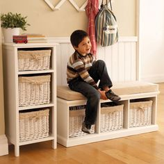New living room storage bench entrance Ideas Living Room Storage Bench, Hallway Storage Bench, Bench With Storage, Storage Spaces, Toy Storage, Garage Storage, Living Room Windows, New Living Room, Small Living Rooms
