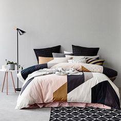 Geometric bedding pink black metallic Instagram photo by @adairs via ink361.com