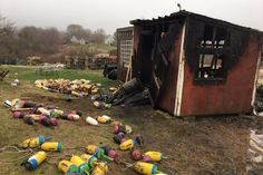 A fire started by a heat lamp used to keep a half-dozen baby chicks warm gutted a shed, killing the chicks inside. Backyard Coop, Poultry Equipment, Baby Chicks, Chicken Coops, Lamps, Shed, Fire, Outdoor, Lightbulbs