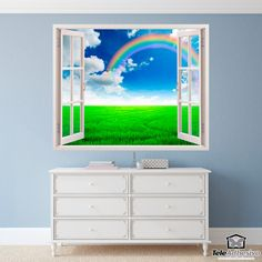 Wall mural Rainbow in the fieldo. Decorative vinyl that simulates a window open to a beautiful landscape of a rainbow in the field. Window Wall, Wall Stickers, Fields, Rainbow, Windows, House, Painting, Home Decor, Art