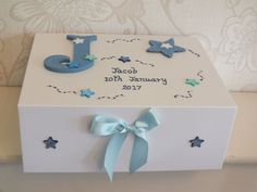 The measurements are across down and deep, the box is made of high quality stong board and fastens with cleverly concealed magnets to keep the box securly closed, the bow adds that finishing touch. Memories Box, Baby Boy Christening, Christening Gifts, Baby Keepsake, Keepsake Boxes, Birth Gift, Baby Birth, Personalised Memory Box, Birthday Cards For Boys