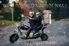 2014 Rinka Family Photo / Christmas Card - The boys taking a road trip on a vintage motorcycle to the North Pole to go visit Santa.