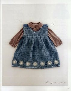 cute crochet dress with granny square border for months with charts Crochet Toddler, Crochet Girls, Crochet Baby Clothes, Crochet For Kids, Pull Crochet, Knit Crochet, Knitting For Kids, Baby Knitting, Pregnancy Fashion Winter
