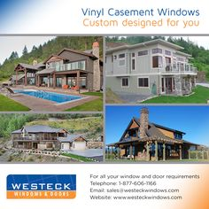 Our Vinyl Casement Windows can be completely customized with a myriad of colors, vinyl stains, glass types and with hardware. Please contact us for more information Casement Windows, Windows And Doors, Wood Doors, Custom Design, Entryway, Stains, Hardware, Patio, Mansions