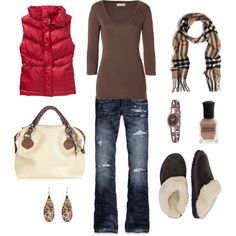 I have a red-ish orange vest..I like the idea of using the tanish brown top with it. Cute bag