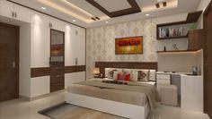 Master Bedroom Interior, Modern Bedroom Design, Contemporary Bedroom, Kids Bedroom, Bedroom Decor, Study Table Designs, Cove Lighting, Table Shelves, Wall Shelves Design