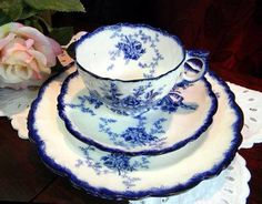 Blue and white cup and saucer.