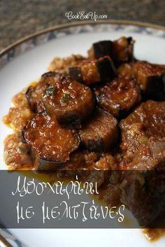 Όταν νόστιμο, τρυφερό μοσχαράκι συνδυάζεται με ένα από τα πιο αγαπημένα λαχανικά του καλοκαιριού, την μελιτζάνα, το γευστικό αποτέλεσμα απλά σε απογειώνει. Αποτέλεσμα αυτού του καταπληκτικού παντρέματος είναι η δημιουργία ενός ακόμη παραδοσιακού πιάτου της Ελληνικής κουζίνας, που από παλιά κοσμεί το τραπέζι. Οικογενειακό και «μαμαδίστικο» αλλά και γιορτινό ή κυριακάτικο είναι απλά υπέροχο! Και … Cookbook Recipes, Meat Recipes, Cooking Recipes, Healthy Recipes, Large Family Meals, Greek Cooking, Greek Dishes, Baked Chicken Recipes, Mediterranean Recipes