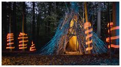 A cool Light Painting Teepee on a magic Forest!