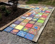 If a pathway is an option for enhancing your play environment, this fun way of making stepping stones is a great activity for adults and children. Be creative and add colorful bits and pieces, or fun designs to your stepping stones.