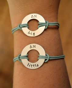 ✢ This set of bracelets is perfect for any big or little pair! The washer is stamped with your choice of Greek letters, along with big or