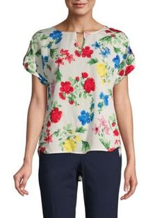 Calvin Klein Collection Floral-print Short-sleeve Top In White Floral Tops, Floral Prints, Calvin Klein Collection, Stylish Tops, Short Sleeves, Pullover, How To Wear, Shopping, Stitch