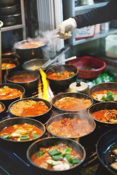 Street food, Bubbling stone pots of fiery jjigae (stew), Namdaemun Market, Seoul, Korea. K Food, Love Food, Food Porn, Chef Food, Korean Street Food, Korean Food, Korean Dishes, Asian Recipes, The Best