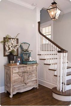wood treads white risers stairs  stairs, railing, paint