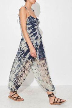 Indigo Silk Jumpsuit by Raquel Allegra   shopheist.com