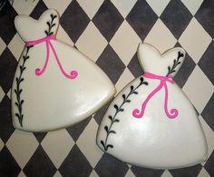 12 Hot Pink and Black Wedding Dress Decorated Sugar Cookies Bridal shower favor. $34.00, via Etsy.