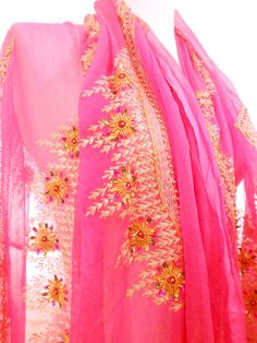 Large Pink Scarf, Pink Chiffon Scarf, Silk Sari Scarf, Pink Shawl, Beaded Shawl. Silk Chiffon Wrap, Silk Sarong, Wedding Shawl