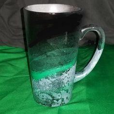 Hand Painted Black and Green Ceramic Mug. Green Coffee Mug/Tall Latte Mug. Tall Coffee Mugs, Green Coffee Mugs, Green Mugs, Kitchen Stuff, Kitchen Decor, Dish Storage, Latte Mugs, Enamel Paint, Mug Cup