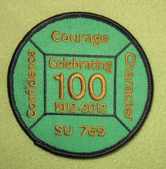 Girl Scouts North East Ohio SU 769  100th anniversary patch. Confidence Courage Character. Celebrating 100, 1912-2012. Thank you Cathy! Love it!
