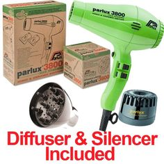 Parlux 3800 Stylist Combo 2100 watts Professional Hair Dryer With Diffuser and Silencer Green - http://beauty.reviewsbrand.com/parlux-3800-stylist-combo-2100-watts-professional-hair-dryer-with-diffuser-and-silencer-green.html