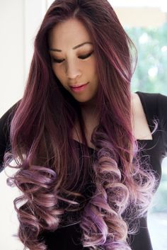 Lilac, Lavender, Purple, Long, Curly, Asian, Balayage, Ombre