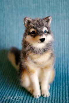 Needle felting - (part XX - custom made wolf)