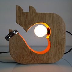 Fox table lamp. unique home lighting. Wooden lamp. bedside lamp. solid wood lamp. Wildwood Orange heart fox lamp