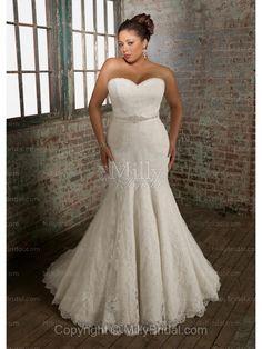 Trumpet/Mermaid Strapless Crystal Beads Sash Lace Chapel Train Wedding Dress