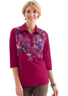 Classic Basics Poloshirt mit floralem Muster für 14,99€. Poloshirt mit Jersey-Kragen, Baumwolle, Polyester, Figurumschmeichelnde Form, 3/4-lange Ärmel bei OTTO