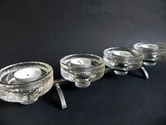 Brutalist forged metal and glass candle holder by beautifulsweden